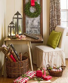 Set up a comfy corner for gift wrapping and writing Christmas cards. More ideas: http://www.midwestliving.com/homes/featured-homes/holiday-house-tour-tailor-made-holiday/?page=13,0