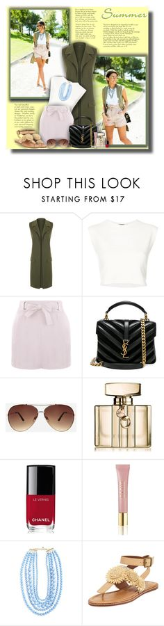 """""""Summer and Knaki vest!"""" by sarahguo ❤ liked on Polyvore featuring WearAll, Puma, Yves Saint Laurent, Ashley Stewart, Gucci, Chanel, AERIN, BaubleBar and Bettye"""