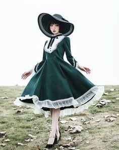 New Release: Unideer 【-Autumn of Floria-】 Lolita OP Dress and Match Accessories ◆ Dress Shopping Link >>>. Kawaii Dress, Kawaii Clothes, Vintage Outfits, Vintage Dresses, Old Fashion Dresses, Fashion Outfits, Pretty Outfits, Pretty Dresses, Beautiful Dresses