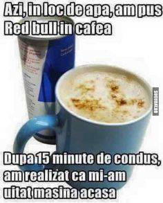 Red Bull in cafea :)) Cute Texts, Funny Texts, Funny Relatable Memes, Funny Jokes, Red Bull, Funny Cute, The Funny, Funny Images, Funny Pictures