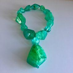 Aquamarine resin nugget necklace