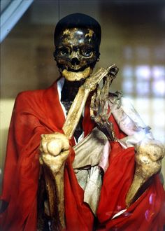 Sokushinbutsu - Buddhist ritualistic self-mummification - For 1000 days  the priests would eat a special diet of nuts and seeds, while taking part in rigorous physical activity that stripped them of body fat. They ate only bark and roots for another 1000 days & drank poisonous tea made from the Urushi tree. This caused vomiting & a rapid loss of bodily fluids & made the body poisonous to maggots. The monk would then lock himself in a stone tomb where he would not move from the lotus…