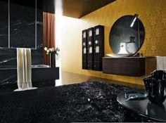 Bathroom Design Ideas - Photo Modern Luxury Bathroom In Black . Decor, Large Bath Rugs, Modern Bathroom, Bathroom Decor, Gold Bathroom Decor, Gold Wall Decor, Modern Bathroom Decor, Modern Luxury Bathroom, Home Decor