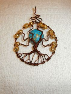 Tree of Life pendant with turquoise mosaic moon by ksuecsr.deviantart.com on @deviantART