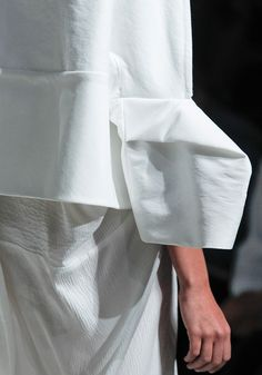 Sculptural sleeve construction - shape & fold; close up fashion design details // Rick Owens