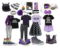 Homestuck: Gamzee Makara by cartoonvillian on Polyvore featuring polyvore Gap Chicwish Guild Prime Paige Denim Vigoss DC Shoes Converse Burnetie Carolina Glamour Collection Versace Coal Marc Jacobs Dr. Martens fashion style clothing