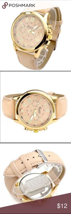 Women wrist watch cream leather bracelet gold Beautiful, stylish, classy, and trendy. You can wear it with earth colors, whites, and nude color shoes. Accessories Watches