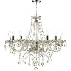 Evangelina 8 Arm Champagne Glass Chandelier (3.670 DKK) ❤ liked on Polyvore featuring home, lighting, ceiling lights, lights, furniture, chandelier, decor, colored glass chandelier, colored glass lamps and t8 light