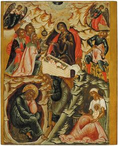 The Nativity of Jesus Christ, from the Feasts tier, ca. Tempera on wooden panel. Religious Icons, Religious Art, Dragon Bleu, Dragons, Medieval Paintings, Russian Icons, Religious Paintings, Byzantine Icons, Galerie D'art