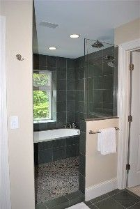 Master Bath with Wet Room - Pebble Floor and Rain Shower