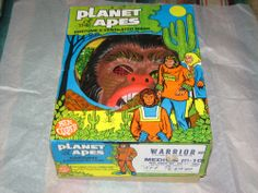 VINTAGE 1974 WARRIOR PLANET OF THE APES HALLOWEEN COSTUME BEN COOPER BOX MASK