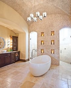 Example Of A Clic Bathroom Design With Vessel Sink Travertinetiles Walk Through Shower