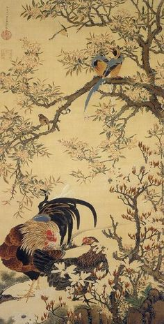 Ito Jakuchu. Chickens. Japanese hanging scroll. Edo period. Eighteenth century.
