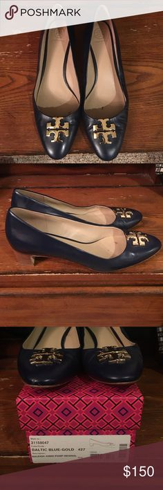 Tory Burch Baltic Blue Raleigh Pump Fantastic shoes for work! Slender almond-shaped toe that flatters the foot. Crafted in smooth leather and has a chic Sixties-style block wooden heel. Tory Burch Shoes Heels