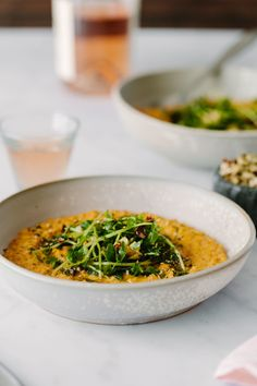 Creamy Vegan Carrot Risotto Topped with Pea Shoots and Dill Hazelnuts. Pea Recipes, Carrot Recipes, Gourmet Recipes, Vegan Risotto, Squash Puree, Potato Puree, Toasted Sesame Seeds, Main Dishes, Side Dishes