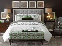 Transitional Master Bedroom with Bassett Furniture Metro Terrace Gray Duvet Cover, Bassett Furniture Leda Table Lamp, Carpet