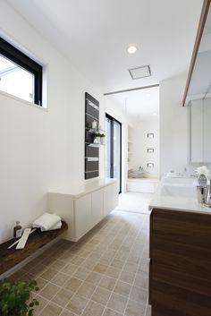 洗面所 Scandinavian Bathroom, White Rooms, Modern Spaces, Washroom, Kitchen Flooring, Powder Room, Interior Architecture, Kitchen Remodel, House Design
