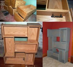 Turn old dresser drawers into funky shelving