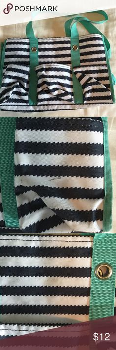 Thirty-one bag OS Gently used Thirty-one bag. Navy and white stripes with teal trim. Great beach or pool tote. See pictures for minor flaws. Bags Totes
