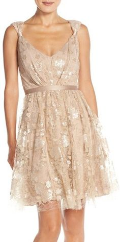 Vera Wang Lace & Sequin Sleeveless Fit & Flare Dress