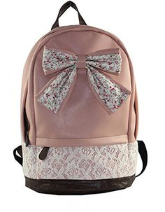 Lovely Bow Floral Print Rucksack Backpack Campus Tote Handbag Satchel Computer Travel Book Bag Schoolbag For Teen Girls College Student Pink