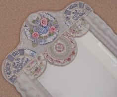 Listed, handmade Mosaic Mirror, broken, cut china plate rims, stained glass, cla