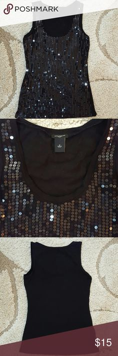 Ann Taylor Sparkle Sequin Tank Cotton/Spandex. Super sparkly sequins tank that dresses up any outfit!  In perfect condition. Ann Taylor Tops Tank Tops