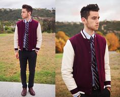 varsity jacket with tie