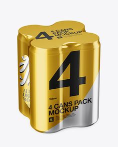 4 Cans in Metallic Shrink Wrap Mockup - Half Side View (High Angle Shot)