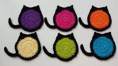 Crochet Posavasos de Kitty ganchillo por LuckyfootDesigns en Etsy
