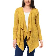 Milanesse Saffron Drape Open Cardigan ($40) ❤ liked on Polyvore featuring tops, cardigans, plus size, long open cardigan, drape cardigan, open cardigan, draped open front cardigan and plus size womens cardigans