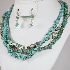 DivaByDzine - Semi-Precious Turquoise & White Stone Necklace Set $10.99 http://www.divabydzine.com/semi-precious-turquoise-white-stone-necklace-set/