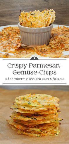 Crispy Parmesan Vegetable Chips - A Little Pinch of Anna - . - Crispy Parmesan Vegetable Chips – A Pinch of Anna – # Parmesan Vegetabl - Vegetable Chips, Vegetable Recipes, Vegetarian Recipes, Paleo Food, Paleo Diet, Parmesan Chips, Zucchini Parmesan, Garlic Parmesan, Parmesan Pasta