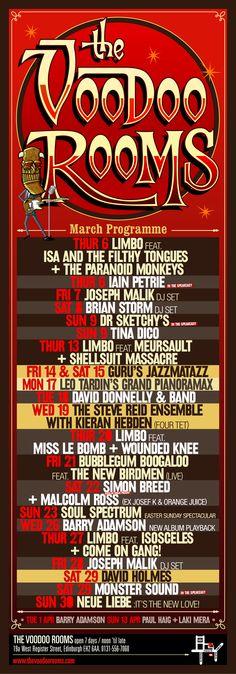 March 2008 events programme... Highlights include The Steve Reid Ensemble with Kieran Hebden, Guru's Jazzmatazz and David Holmes.