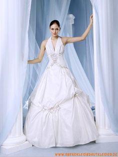 Elegante Nackhalter Princess-stil rückenfrei Brautkleider aus Taft