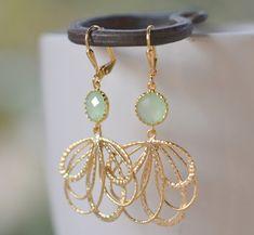 Mint Dangle Earrings in Gold. Mint Multiple Teardrop by RusticGem.