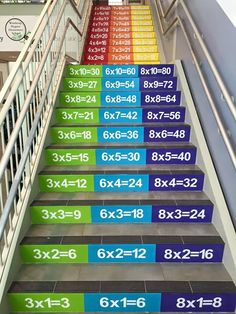 Winthrop STEM Elementary Math Facts Staircase - New Ideas School Hallways, School Murals, Art School, School Hallway Decorations, Hallway Ideas, Wall Ideas, Kindergarten Design, School Painting, School Displays