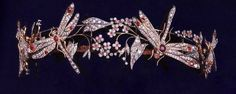 DUCHESS OF CASTRO DRAGONFLY TIARA~ Created by Chaumet ca. 1900, Naturalistic pattern of Dragonflies libellules that are mounted en tremblant and can be dismantled to be worn as brooches. The Tiara is made in diamonds and rubies.