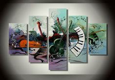 canvas artwork, 100% hand-painted oil painting, musical instrument theme home decor art wall. modern painting
