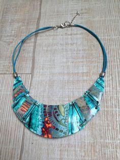 Collier esprit torque avec perles en argile polymere motif : Pendentif par arliane