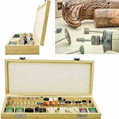 Keep it all organized in the wooden storage box included with the kit. Rotary tool is not included. Number Of Pieces: 228 assorted accessories. Present our Rotary Tool Accessories Kit. Dremel Sander, Wood Carving Set, Dremel Rotary Tool, Wooden Storage Boxes, Kit Homes, Craft Work, Jewelry Crafts, Tools, Ebay