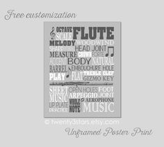 Flute Typography Art Print You Choose the Colors by twenty3stars