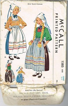 Vintage 1950 Girls Dutch Costume Size Large 10-12 McCall 1585. $10.99, via Etsy.