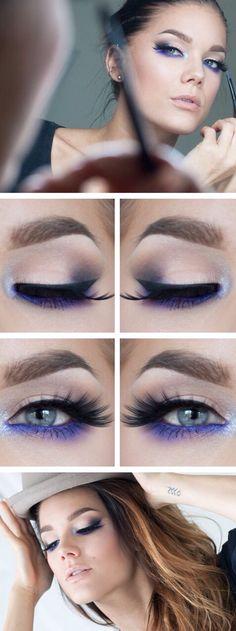 Love the pop of purple on the lower lash line