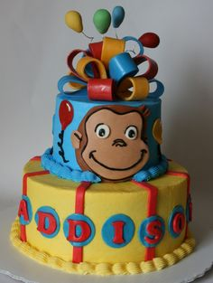 Curious George Cake Thanks to for the design idea for this cake. I did a few changes, but the main design is from your. Curious George Cakes, Curious George Party, Curious George Birthday, Zoo Birthday, Lego Birthday Party, Birthday Ideas, Birthday Cakes, Cupcake Cakes, Cupcakes