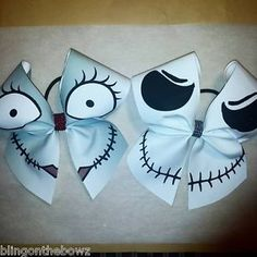 JACK-AND-SALLY-CHEER-BOW-SET - how cute are these? Use heat transfer materials and a heat press to design your own halloween bows.