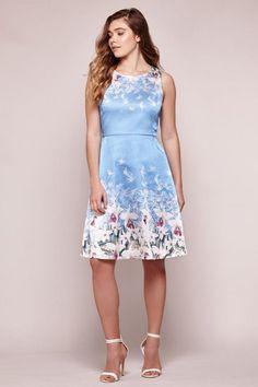 Floral Satin Fit & Flare Dress Blue   Yumi