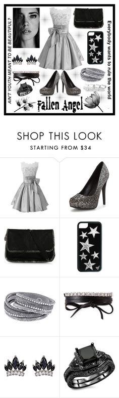 """Party dress"" by jumainakmir ❤ liked on Polyvore featuring STELLA McCARTNEY, Fallon, Maison Margiela, party, metallic, glitter, partydress and minidress"