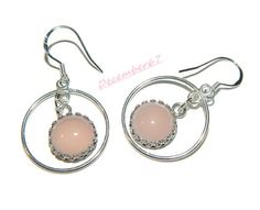 Sterling Silver Hoops Pink Chalcedony by JewelrybyDecember67, $36.00