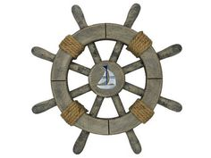 Rustic Decorative Ship Wheel With Sailboat 12""""